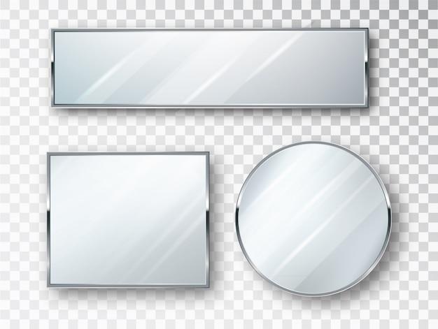 分離されたさまざまな形状のミラーセット。ミラーフレームまたはミラー装飾インテリアイラスト。