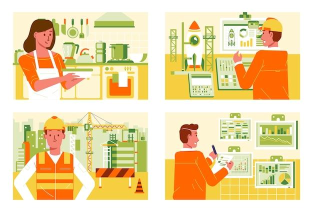Разная работа на разных рабочих местах, дома, в строительстве, офисе и запуск ракеты.