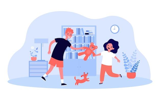 화난 누나에게서 테디베어를 빼앗는 장난꾸러기 형. 장난감 평면 벡터 일러스트 레이 션을 놓고 싸우는 형제. 배너, 웹 사이트 디자인 또는 방문 페이지에 대한 가족, 관계, 어린이 행동 개념
