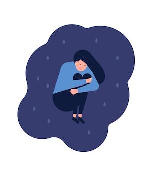 바닥에 앉아 비참한 외로운 젊은 여자. 우울하거나 불행하거나 화가 난 소녀. 곤경, 우울증, 슬픔, 슬픔에 빠진 여성 캐릭터. 정신 장애 또는 질병. 플랫 만화 벡터 일러스트 레이 션.