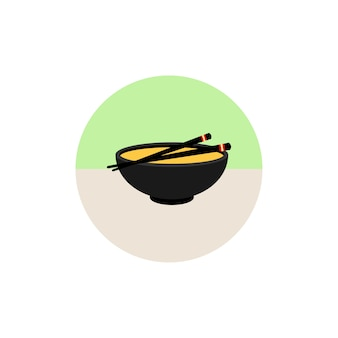 白い背景にあるフラットなスタイルの味噌スープのアイコン