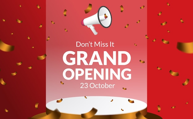 Don't miss it grand opening poster banner template with floating megaphone speaker with podium stage and golden confetti. poster banner template