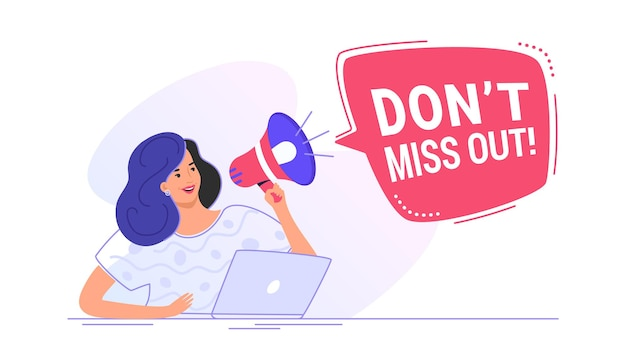 Do not miss out loudspeaker banner to remind something for a community. flat line vector illustration of cute woman sitting with laptop and shouting with red megaphone. announcement or alert on white
