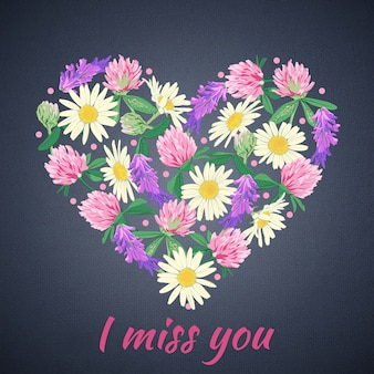 Miss you card with floral heart.