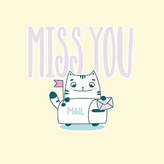 Miss you lettering with funny astronaut cat