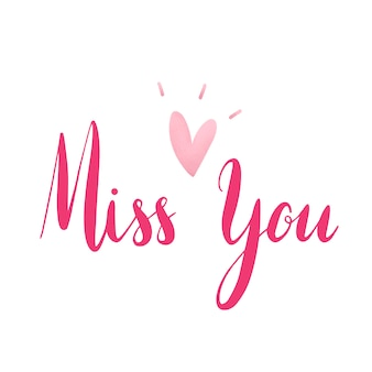 Miss you typography vector in pink