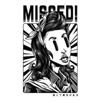Missed black and white illustration