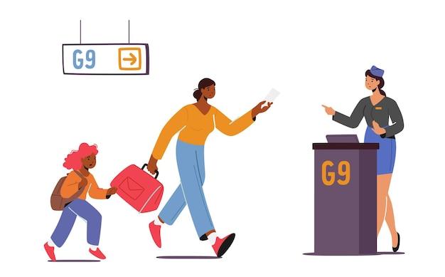 Пропущенный рейс стрессовая поездка. мать с ребенком, опоздавшая на посадку в самолет