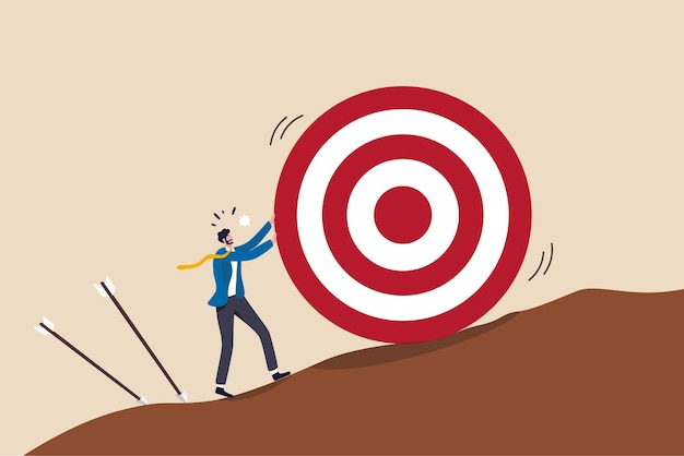 Missed target, failure or obstacle concept.