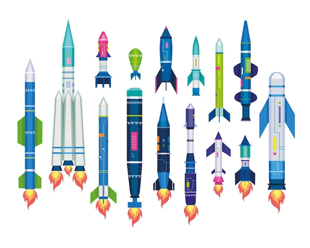 Missile set for air ballistic strike. illustration of rocket bomb, warhead, jet artillery shell, icbm isolated on white