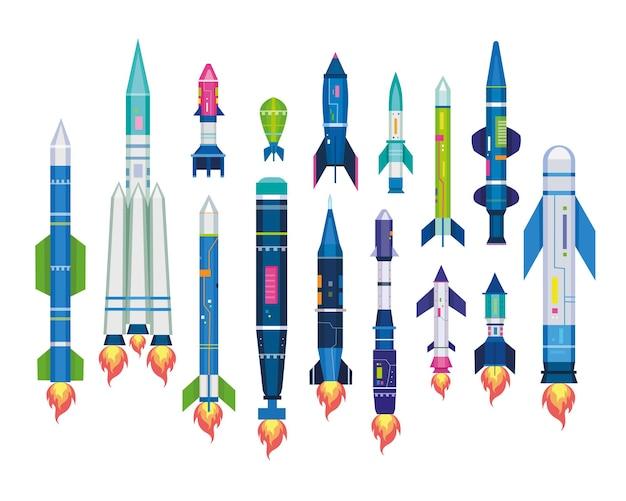 공중 탄도 타격을 위한 미사일 세트. 로켓 폭탄, 탄두, 제트 포병 포탄, 흰색 절연 icbm의 그림