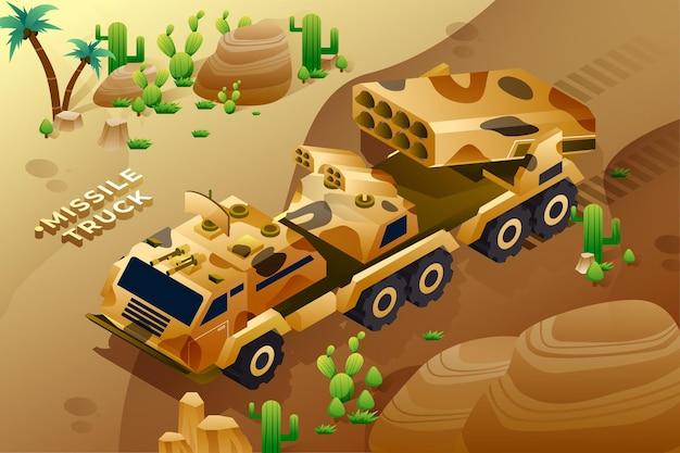 Missile truck - isometric illustration