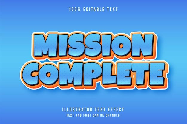 ミッション完了、3 d編集可能なテキスト効果青オレンジコミックスタイル