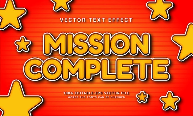 Mission complete 3d text style effect themed digital asset