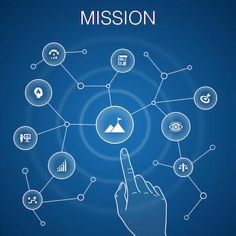 Концепция миссии, синий фон. рост, страсть, стратегия, значки производительности