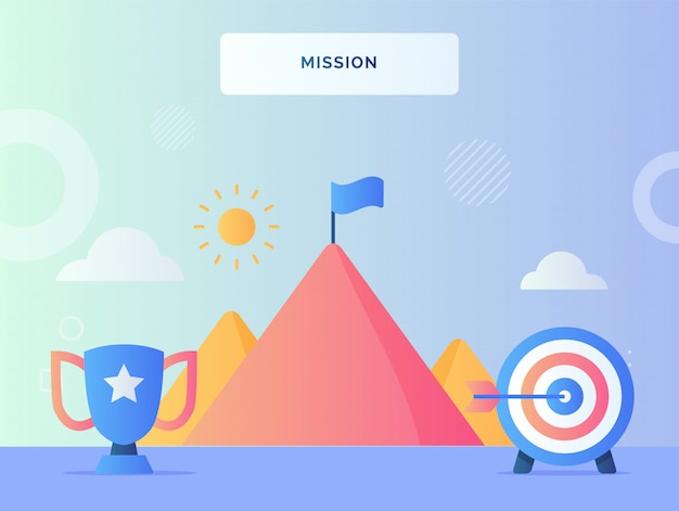 Mission concept trophy target goal in front flag on top mountain with flat style. Premium Vector