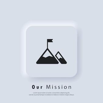 미션 아이콘입니다. 목표. 미션 로고. 플래그와 함께 산입니다. 벡터. ui 아이콘입니다. neumorphic ui ux 흰색 사용자 인터페이스 웹 버튼입니다.