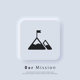 Mission icon. goal. mission logo. mountain with a flag. vector. ui icon. neumorphic ui ux white user interface web button.