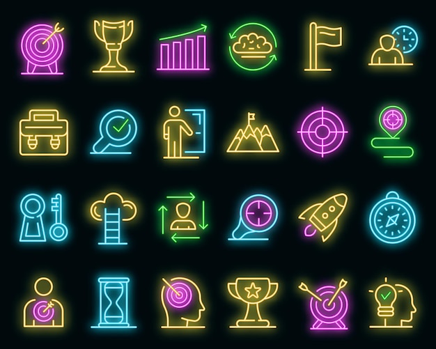 Mission icons set. outline set of mission vector icons neon color on black