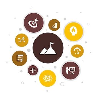 Mission infographic 10 단계 거품 design.growth, 열정, 전략, 성능 간단한 아이콘