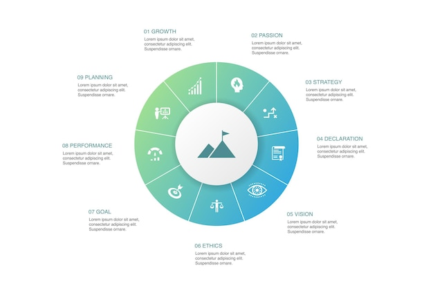 Mission infographic 10 단계 원형 design.growth, 열정, 전략, 성능 간단한 아이콘