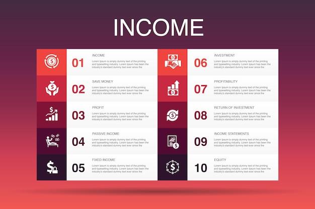 미션 인포 그래픽 디자인 template.growth, 열정, 전략, 성능 간단한 아이콘