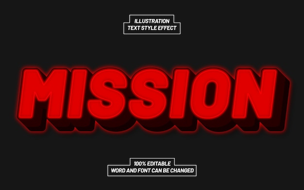 Mission red bold text style effect