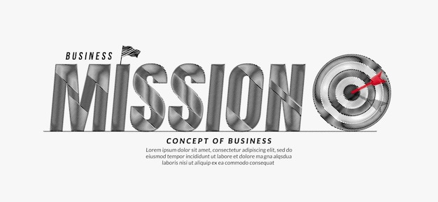 Mission scribble text design background business target lettering typography concept