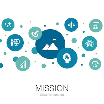 Mission trendy circle template with simple icons. contains such elements as growth, passion, strategy, performance