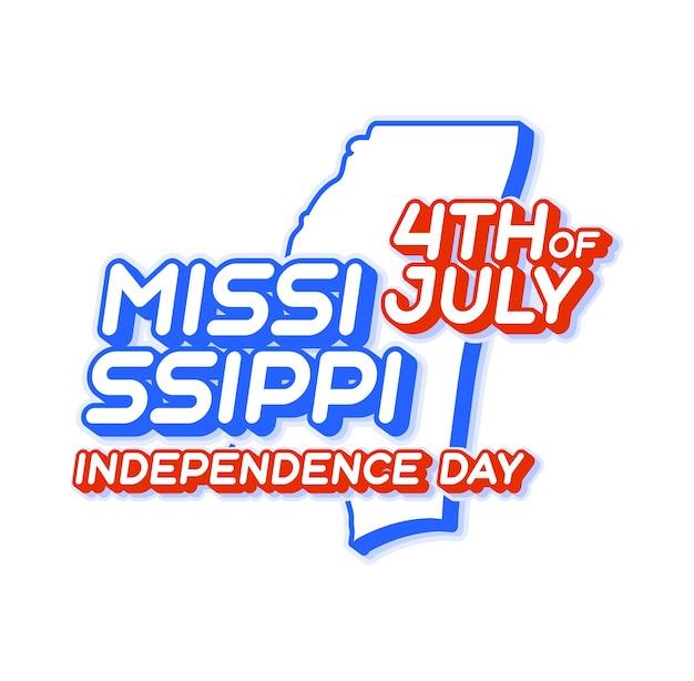 Штат миссисипи 4 июля в день независимости с картой и национальным цветом сша 3d-формой сша
