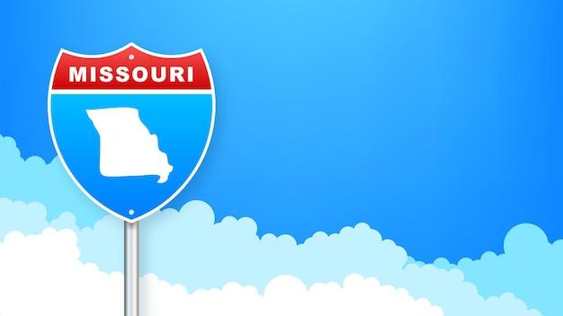 도 표지판에 미주리 지도입니다. 미주리 주에 오신 것을 환영합니다. 벡터 일러스트 레이 션.