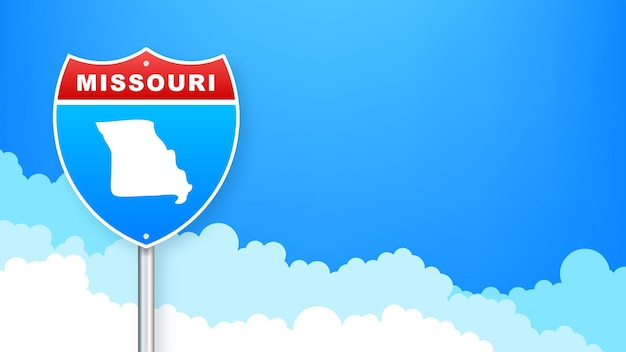 Missouri map on road sign. welcome to state of missouri. vector illustration.