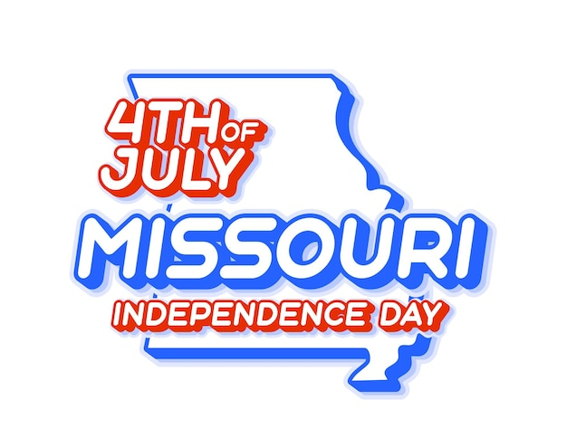 Missouri state 4th of july independence day with map and usa national color 3d shape of us