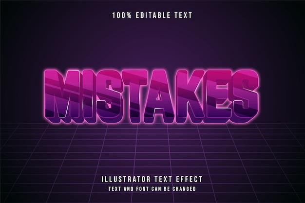 실수, 3d 편집 가능한 텍스트 효과 핑크 그라데이션 보라색 미래파 효과 스타일