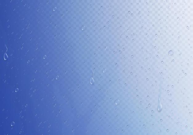 蒸し暑い光沢のあるグラデーションの表面の図に小さな水滴がたくさんあるミストガラスクリッピングパスの構成、