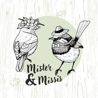 Mister and missis bird hand drawn illustration