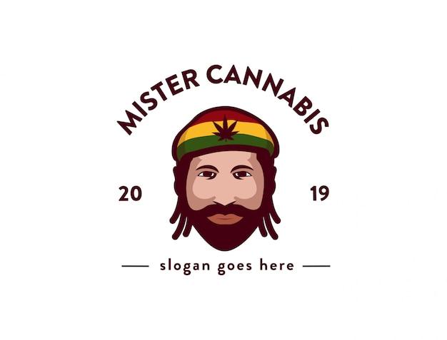 ミスター大麻ロゴアイコンイラストテンプレート