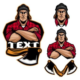 Mister lumberjackのマスコットとスポーツのロゴテンプレート