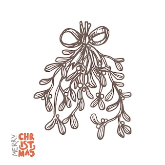 Mistletoe branches, christmas festive decoration for holiday
