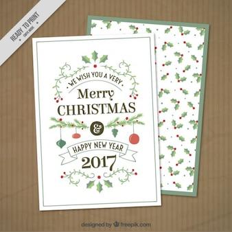 Mistletoe christmas card Free Vector