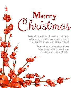 겨우살이 장식. 붉은 열매와 가지. 잎없이 크리스마스 장식. 흰색 배경에 그림입니다. 텍스트를위한 장소.