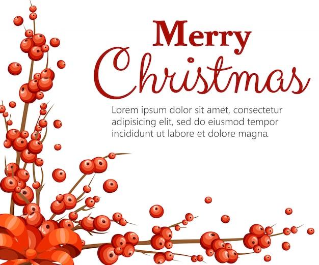 Омела декоративная. ветки с красными ягодами. рождественское украшение без листьев. иллюстрация на белом фоне. с местом для текста.