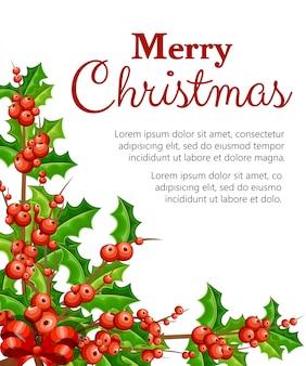 Омела декоративная. ветви с красными ягодами и зелеными листьями. рождественское украшение. иллюстрация на белом фоне. с местом для текста.