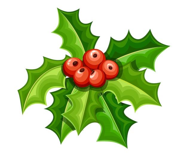 겨우살이 장식. 붉은 열매와 녹색 잎. 크리스마스 장식. 흰색 배경에 그림