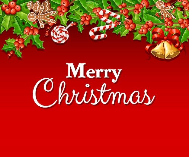 Омела с зелеными листьями и двумя колокольчиками с красным бантом, рождественское украшение, иллюстрация на красном фоне с местом для текста