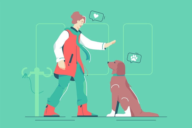 Mistress with pet dog illustration. woman owner train puppy in park flat style.