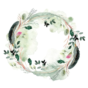 Misty feather and floral watercolor wreath