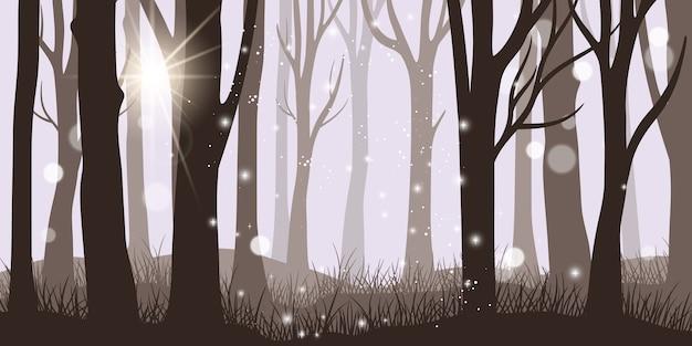 Туманный лесной фон. ужас ночь и волшебные огни утренний лесной пейзаж, темный фэнтезийный туманный лес, красивая осенняя или летняя панорама стволов, векторная иллюстрация