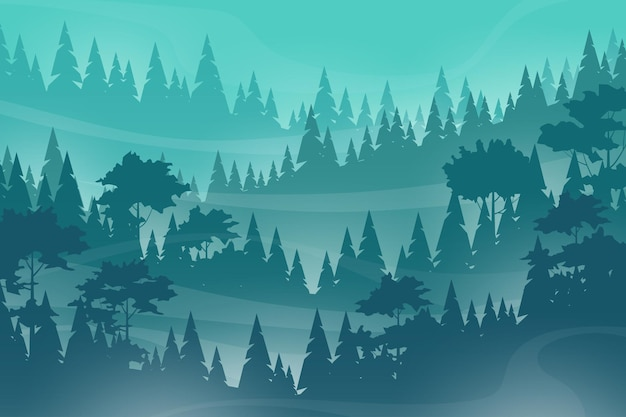 Misty landscape with fog in pine and forest on mountain slopes, illustration nature scene