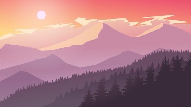 Туманная горная скала сосновый лес природа пейзаж во второй половине дня, сумерки, восход, закат